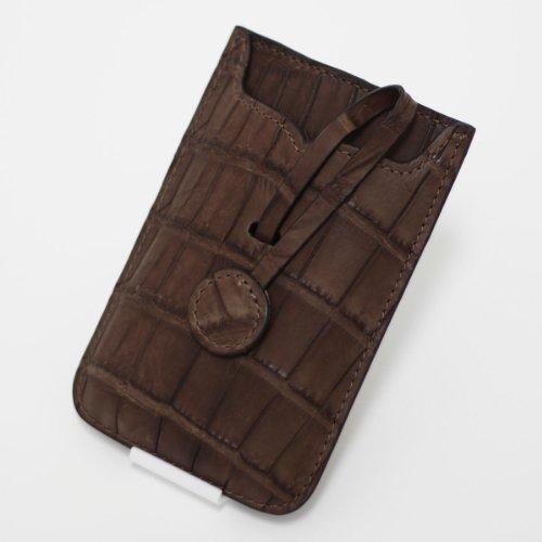 【各種スマホ対応 iPhone5sも】本クロコダイル皮革オリジナルスマートフォンケース (チョコ)