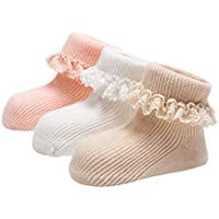 DEBAIJIA 3 Pair Set Baby Girls Anti-Slip Coton Lace Socks, 1-3 Years Toddler Kids Frilly Socks, Non-Slip Skid Covered Warm Confortable Spring Autum Socks - White/Pink/Kakhi - M