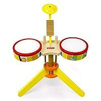 ドラム・パーカッション 子供のドラム木製の音楽のおもちゃ幼児教育ドラム楽器初心者はドラム子供のおもちゃを打つ (Color : Yellow, Size : 47*37*27cm)