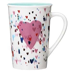 STARBUCKS スターバックス スタバ バレンタイン マグ 355ml ハート 心 ラブリー ペイント イラスト シンプル 陶器 食器 ロゴ 水筒 桃 ピンク 白 ホワイト パステル コーヒー