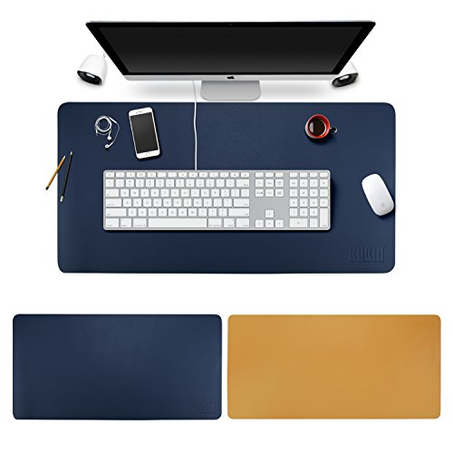 マウスパッド エグゼクティブデスクのためのデスクマット 事務所机用多機能 防水 精密でオーバーロックで超大型 パッド デザインの素材にレザーを使用した贅沢なデスクパッド(青+イエロー, 80cm*40cm)