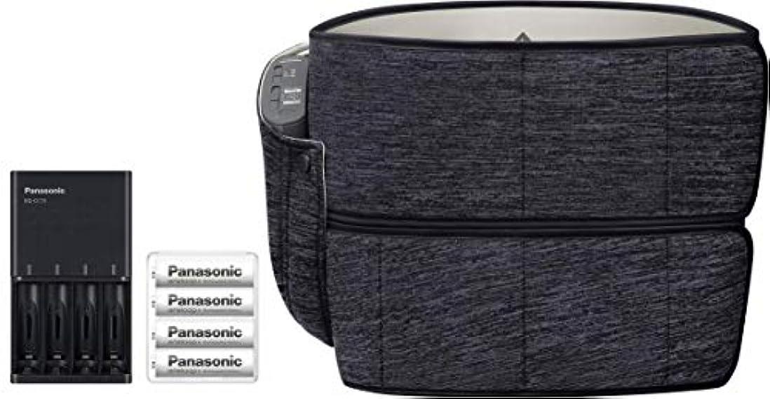 モンクジェームズダイソンゆりかごパナソニック エアーマッサージャー 骨盤おしりリフレ コードレス ブラック EW-RA79-K + 単3形充電池 & 急速充電器 セット
