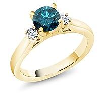 Gem Stone King 0.9カラット 天然 ブルーダイヤモンド 合成ホワイトサファイア (ダイヤのような無色透明) シルバー925 イエローゴールドコーティング 指輪 リング