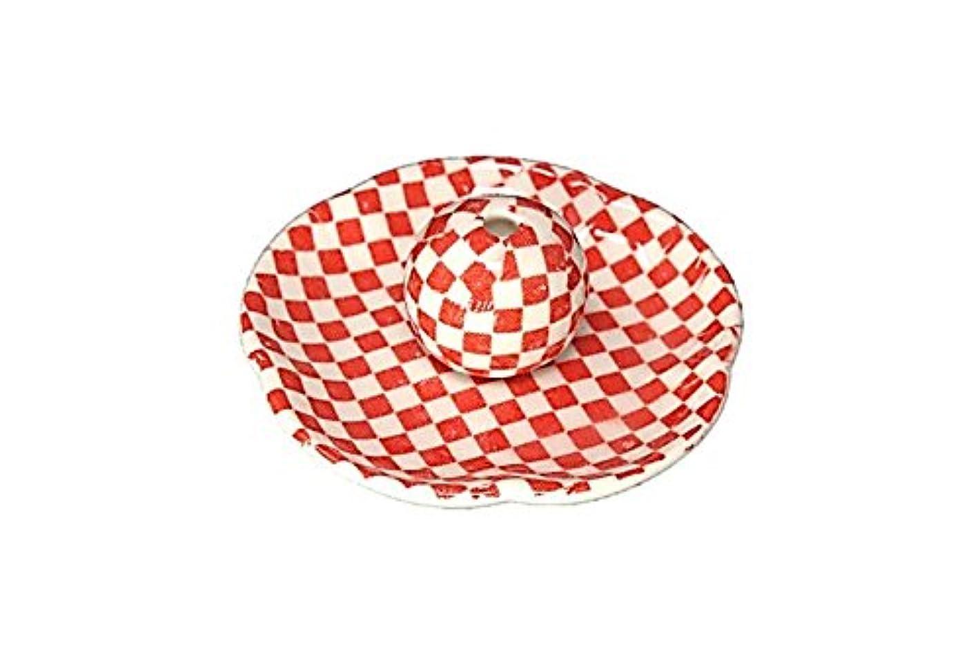 誘導社会所持市松 赤 花形香皿 お香立て 日本製