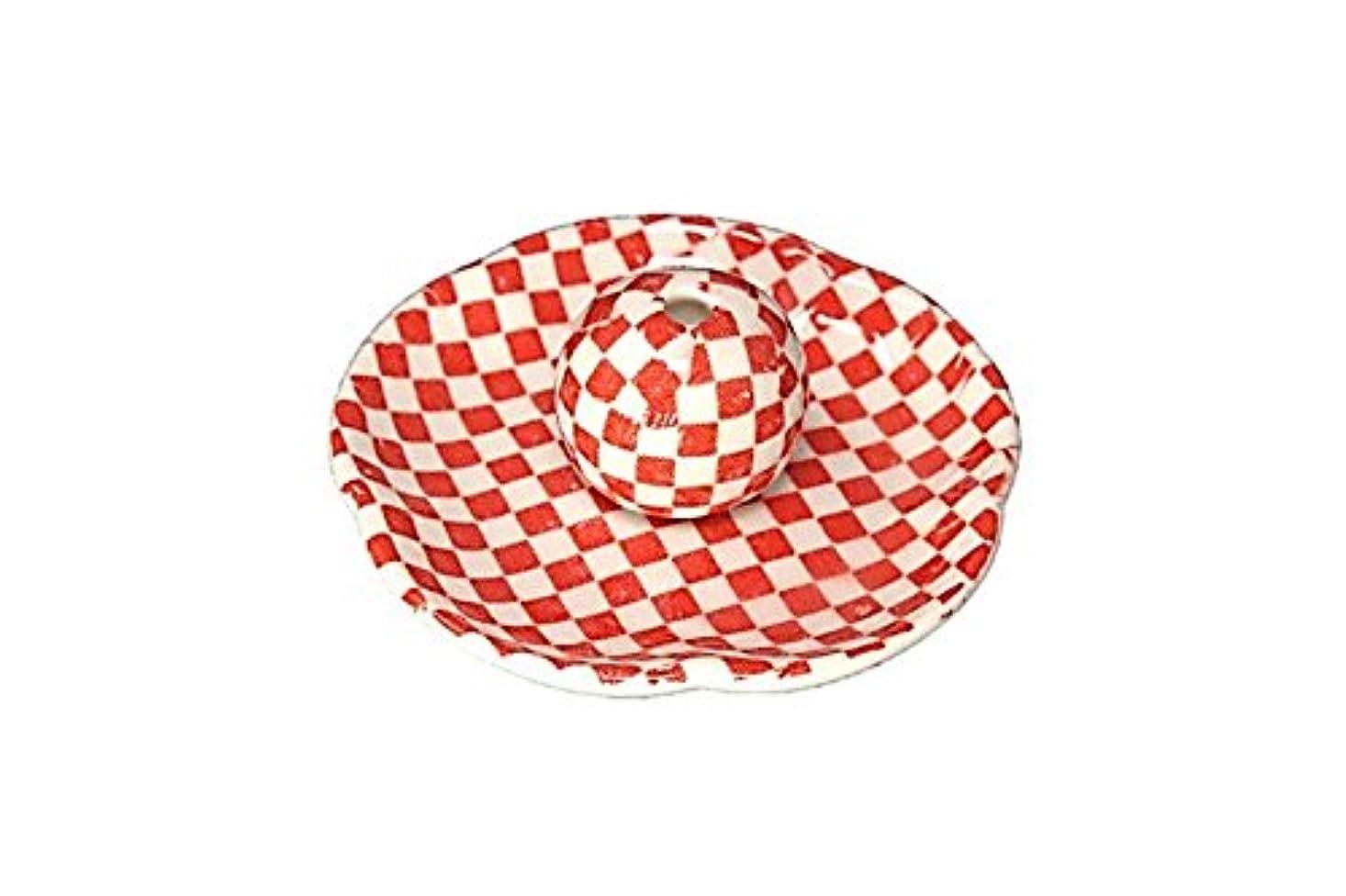 流す警告するレッドデート市松 赤 花形香皿 お香立て 日本製