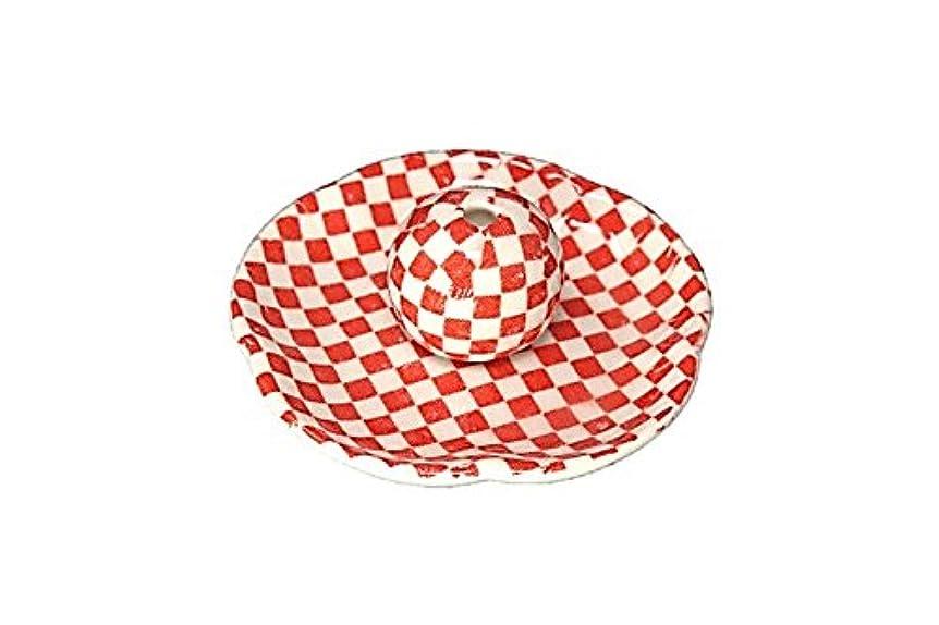 国民投票勢い勢い市松 赤 花形香皿 お香立て 日本製
