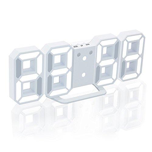 EAAGD 多機能 電子 3D 8888 LEDデジタル目覚まし時計 掛け時計、12H / 24H時間表示 自動調節可能のLED明るさ 家の装飾卓上時計 (ホワイト本体+ホワイトライト)
