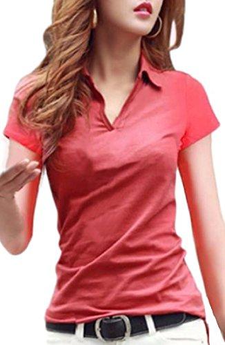 (ルナー・ベリー) Lunar Berry Vネック 襟付き カットソー 半袖 長袖 スリム Tシャツ レディース トップス ストレッチ 素材 ポロシャツ ロンT スエット シンプル 無地 デザイン 上品 コットン ベーシック 美ライン 細見え 着やせ (L, 赤_半袖)