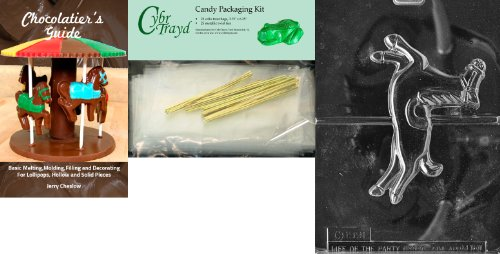 """Cybrtrayd """" Large Carousel Horse """" Miscellaneousチョコレート金型with Chocolatierのバンドル、Includes 25?Cello Bags and 25ゴールドツイストTie"""