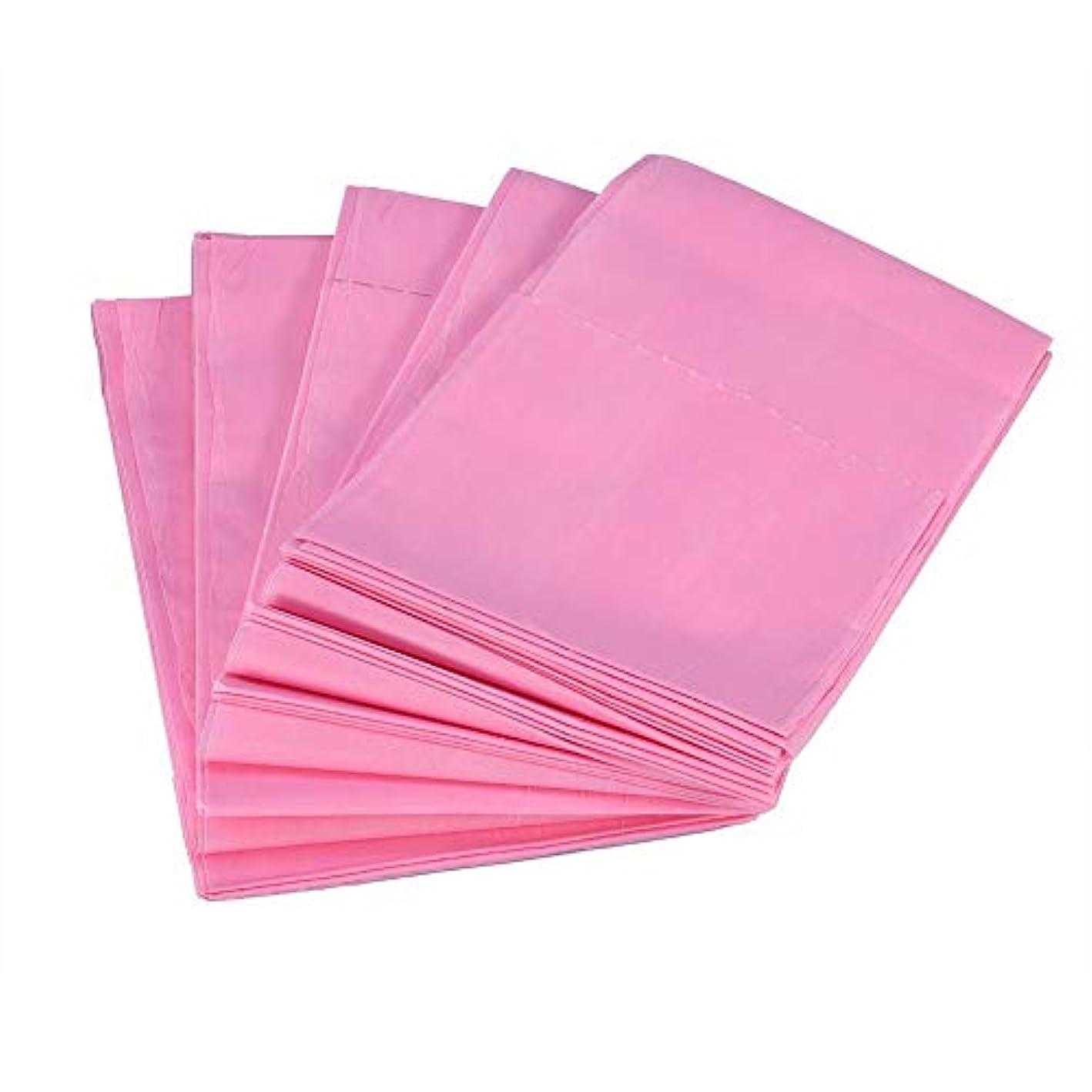 気楽な終わらせる損なう使い捨てベッドシーツ、10個175 x 75cm不織布使い捨て防水シーツマッサージビューティーカバー(ピンク)