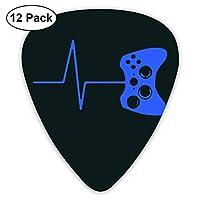 Heartbeat Of A Gamer ピック ギターピック 12個入り それぞれ厚さ カラフル ピックケース付き 12枚セット 多種多色Thin 0.46mm、Medium 0.71mm、Heavy 0.96mm 各4枚 ティアドロップピック