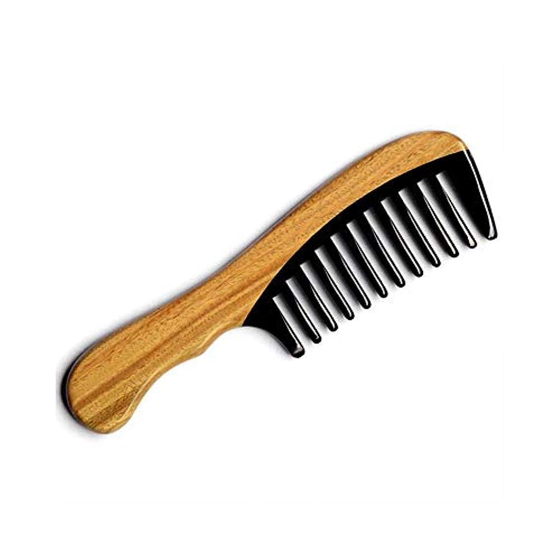 お父さん負息苦しいFashianナチュラルバッファローホーンくし木製のもつれ解除はありません静的ヘアコーム(標準歯形、18センチメートル) ヘアケア (色 : A)