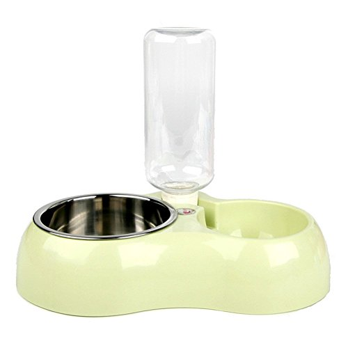 TaoKing 猫ボウルタイプ1台2役ダブルスリ自動給水器 犬 食器 680ml グリーン
