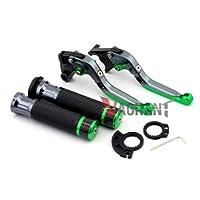 FidgetGear For Kawasaki EX250R /Ninja 250/ Ninja 300 Folding Brake Clutch Levers Hand Grips Green