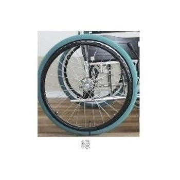 車いす用タイヤカバー ホイルソックス (中 (20~22インチ用), 緑)