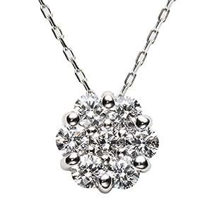 [パッション ダイヤモンド]セブンストーン ペンダント 0.3ct K10WG チェーンネックレス 40㎝