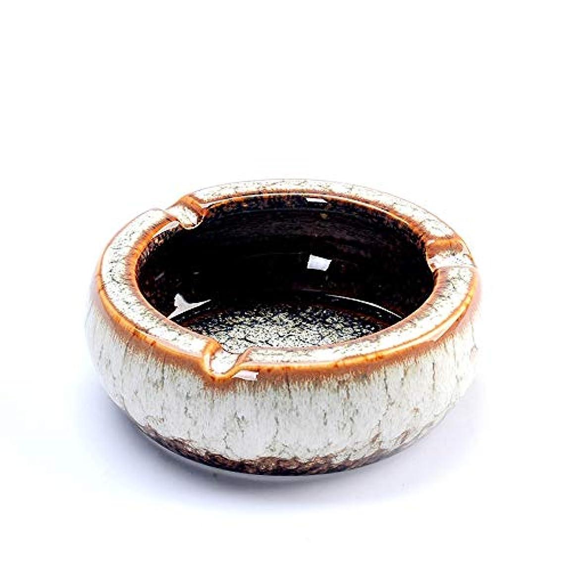 付属品賢いかごタバコ、ギフトおよび総本店の装飾のための灰皿円形の光沢のあるセラミック灰皿 (色 : 白)