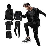 (トップスカイ) Topsky コンプレッションウェア メンズ 半袖 長袖 冬 上下 5点セット 6カラー スポーツウェア トレーニング ランニング 吸汗 速乾 (XL, 黒&黒5点セット)