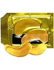 24Kアイマスク削除ダークサークルアンチシワ保湿アンチエイジングアンチパフアイバッグビューティファーミングアイマスク - イエロー