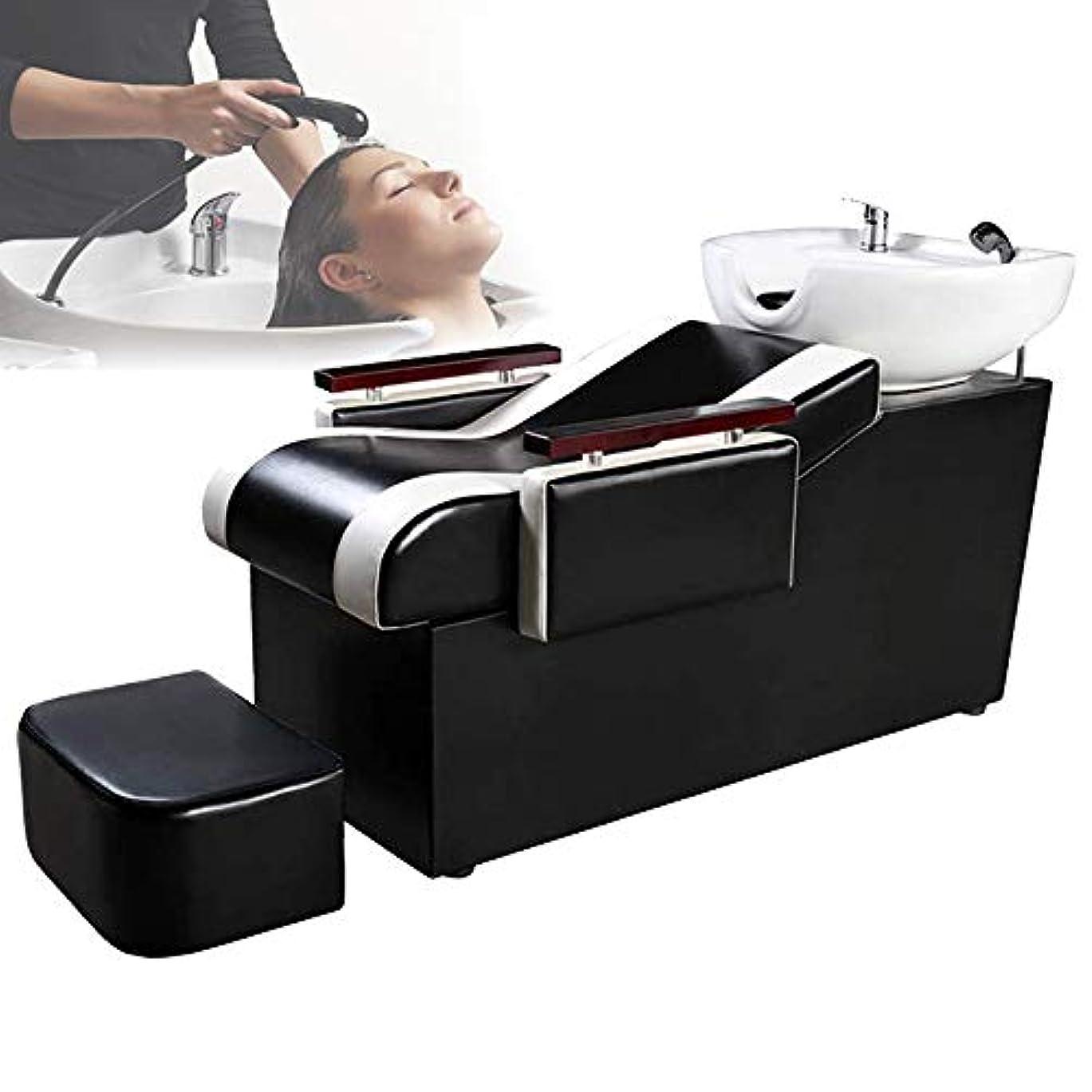 ロードブロッキング倒産さておきシャンプーベッド、バックウォッシュユニットシャンプーボウル理髪用シンクチェアスパ用美容院用機器シャンプーベッド(黒)