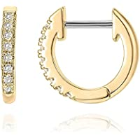 PAVOI 14K Gold Plated Sterling Silver Post Cubic Zirconia Cuff Earrings Huggie Stud