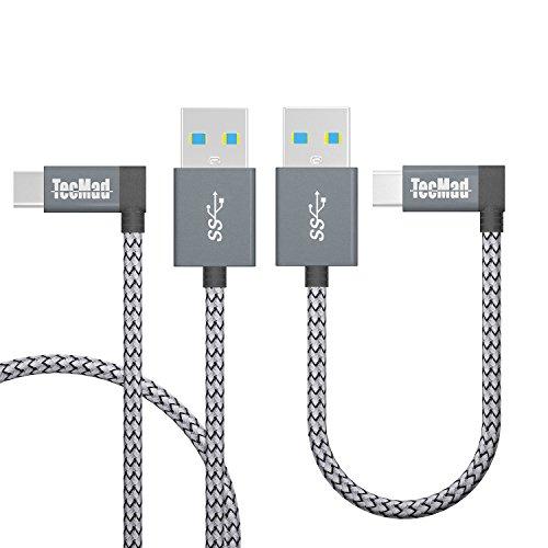 USB C 3.0 TacMad充電ケーブル L字コネクター...