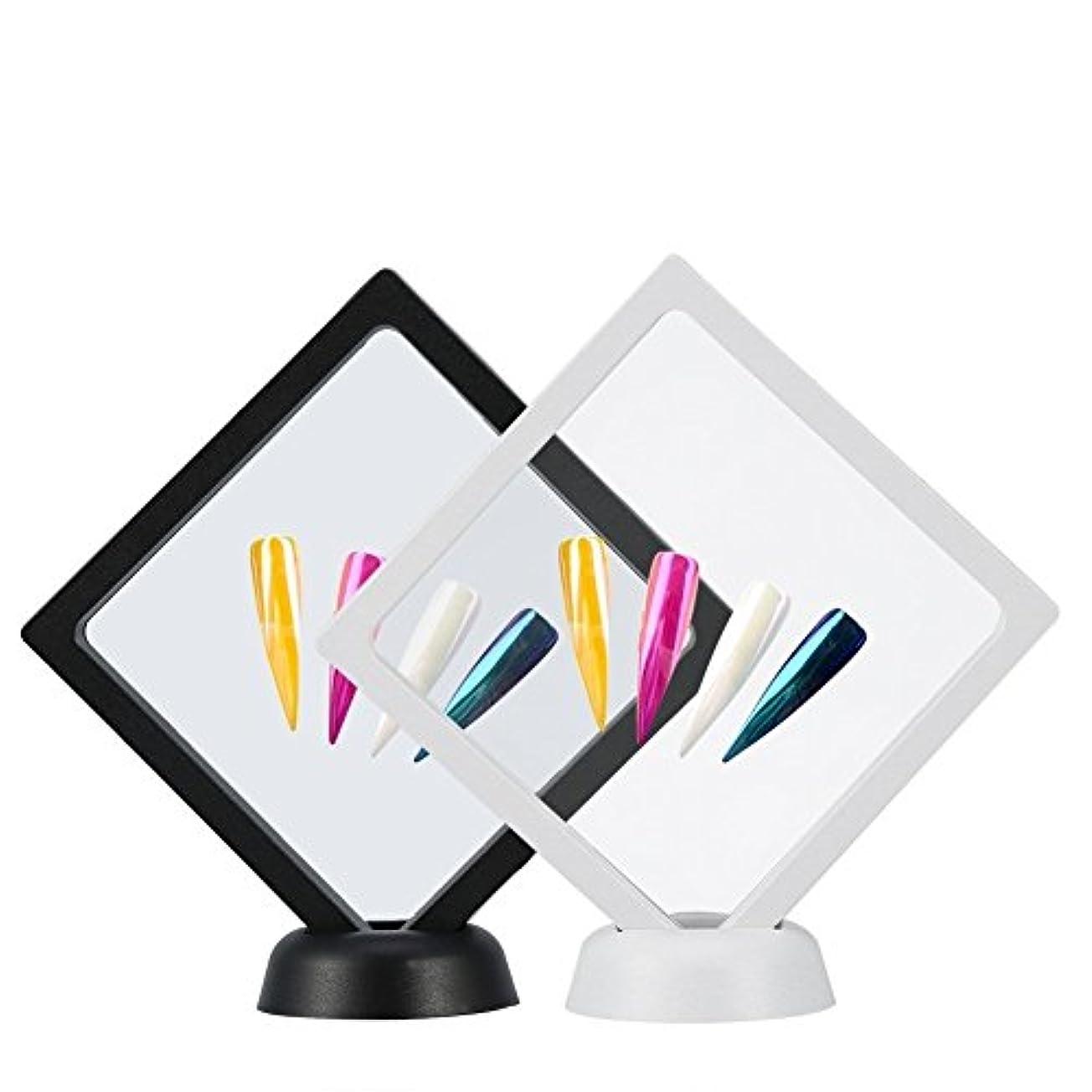 自伝に応じて織るYosoo 2個入り ネイルチップ ディスプレイ スタンド マニキュア ネイルサンプル ホルダー ネイルカラーチャート ネイルテンプレート ネイルケア ネイルアートツール 組立て式 白+黒 展示用 自宅 サロン