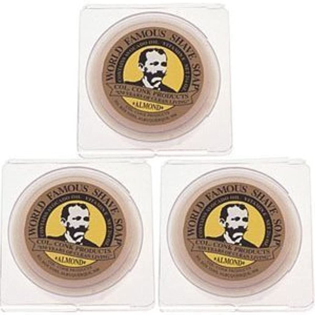 出席サポート遺伝子Col. Conk World's Famous Shaving Soap Almond * 3 - Pack * Each Net Weight 2.25 Oz by Colonel Conk [並行輸入品]