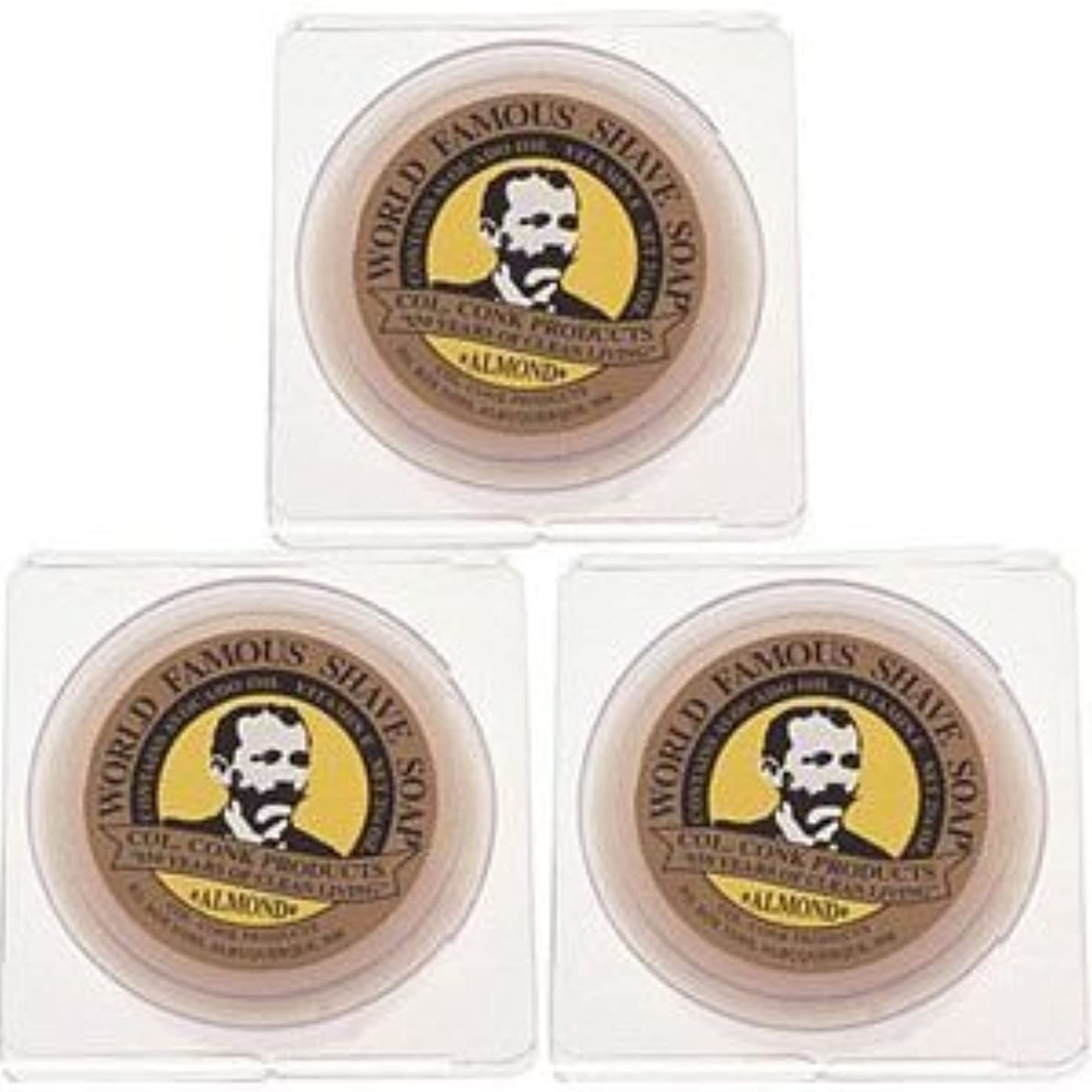 伝導あいにくチョークCol. Conk World's Famous Shaving Soap Almond * 3 - Pack * Each Net Weight 2.25 Oz by Colonel Conk [並行輸入品]
