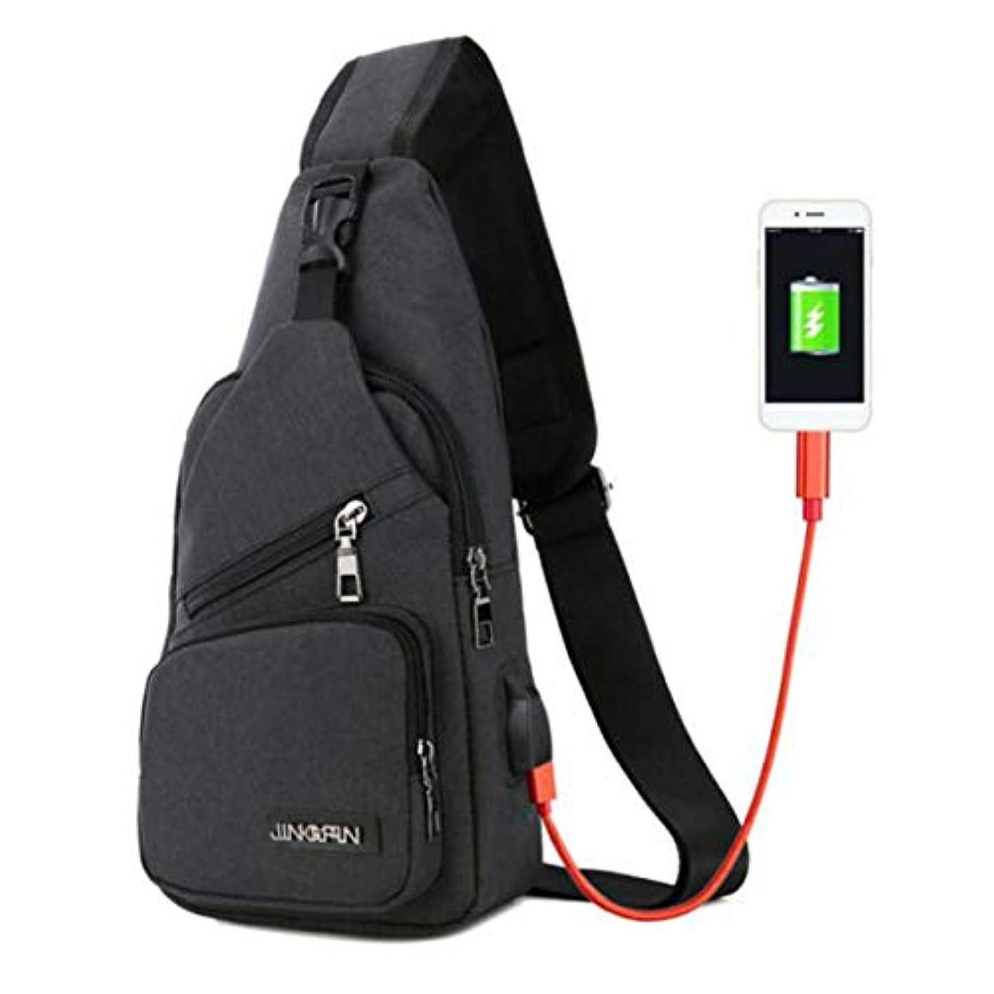 USBメンズクロスボディバッグメンズチェストバッグデザイナーメッセンジャーバッグキャンバスショルダーバッグ斜めのパッケージバックパックトラベル-ブラック