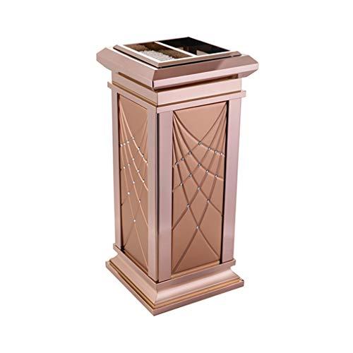ゴミ箱、スタンドアップ灰皿、ヨーロッパの高級感 ステンレススチール+レザー、厚手、屋外シーンで使用可能