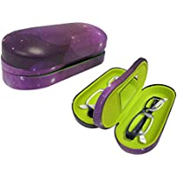 Dual Glasses Case for Two Frames - Double Layer Clamshell Hard Protective Case with Soft Felt Interior with Built-in Mirror ? Purple Galaxy Print with Matte Finish - by OptiPlix