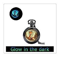 レッドフォックス懐中時計のネックレスを輝く、フォックス輝く時計ペンダントは、フォックスジュエリーは、フォックス動物はネックレス、アニマルアート、子供のジュエリー子供たちの時計