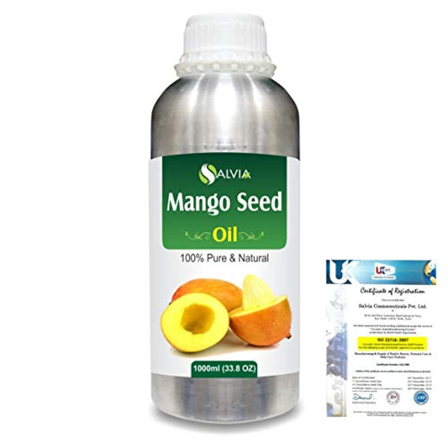 公報酬変えるMango Seed (Mangifera indica)100% Natural Pure Carrier Oil 1000ml/33.8fl.oz.