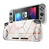 Mumba Protective Case for Nintendo Switch, [Girl Power] Soft TPU Grip Case Cover for Nintendo Switch Console with Shock-Absorption and Anti-Scratch (Marble)