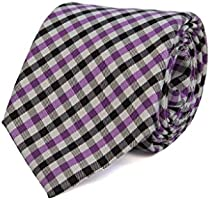 40 Colori ラージ ギンガム シルク織り ネクタイ ブラック - パープル