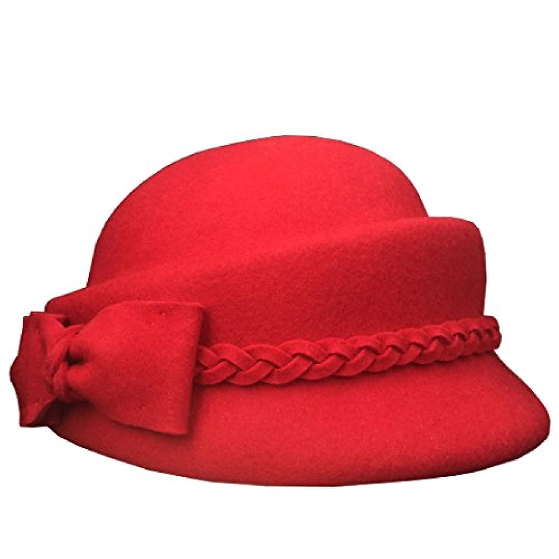 Lujuny ベレー帽 ラシャ帽子 汗止め付き 調整テープ 秋冬コーデ 上品 保温 レディース
