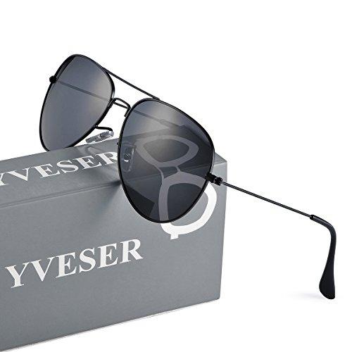 Yveser メンズ レディース 偏光 ティアドロップ サングラス 釣り 運転用 Yv3025 (マットブラックフレーム/ブラックレンズ)