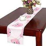 GGSXD テーブルランナー すばしこい 豚 クロス 食卓カバー 麻綿製 欧米 おしゃれ 16 Inch X 72 Inch (40cm X 182cm) キッチン ダイニング ホーム デコレーション モダン リビング 洗える