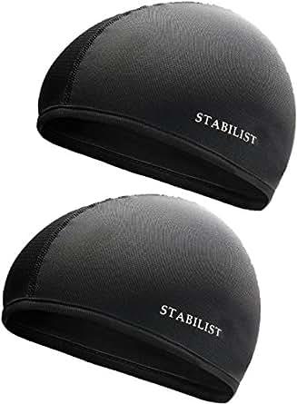STABILIST インナーキャップ ヘルメット 蒸れ 吸汗 速乾 汗取り フリーサイズ サイクリング 2枚組 ドライ フィット 消臭 抗菌 ビーニー スカル キャップ (黒)