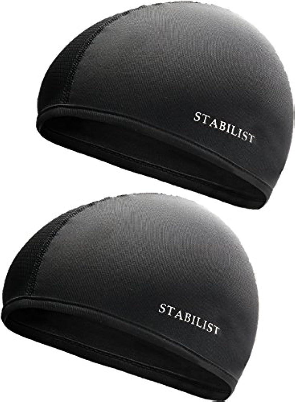 後背の高い電気的STABILIST インナーキャップ ヘルメット 蒸れ 吸汗 速乾 汗取り フリーサイズ サイクリング 2枚組 ドライ フィット 消臭 抗菌 ビーニー スカル キャップ (黒)