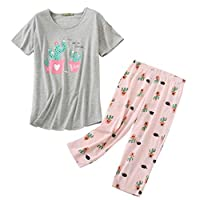 ENJOYNIGHT Women's Cute Sleepwear Tops with Capri Pants Pajama Sets