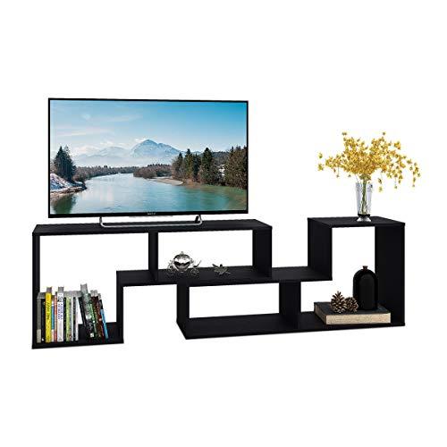 DEVAISE テレビ台 テレビラック テレビボード ローボード 伸縮 幅1100~2200mm 65インチまで対応 コーナー 収納ラック 2点セット 一年保証 簡単組立 ブラック 木目 WF0014C