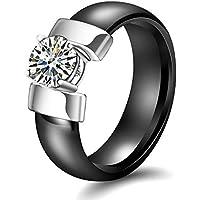 Ranipobo Ceramic Ring Black and White Diamond Ring Glossy Ring