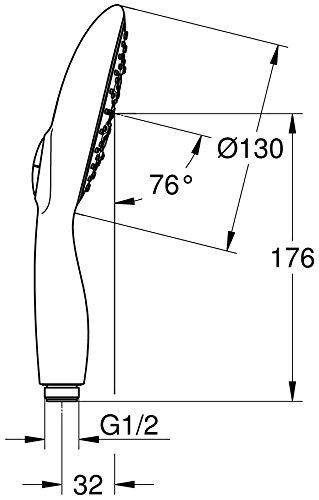 グローエ(GROHE) パワーアンドソウル ハンドシャワー(シアーマーブル) TOTO/INAX/KAKUDAI/SANEI対応ホース用アダプタ付き (グローエジャパン公式・日本規格適合品)
