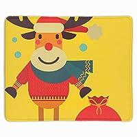 """マウスパッドユニークなカスタムプリントマウスパッドクリスマスかわいいトナカイサンタクロース滑り止めラバー11.8"""" x9.85"""""""