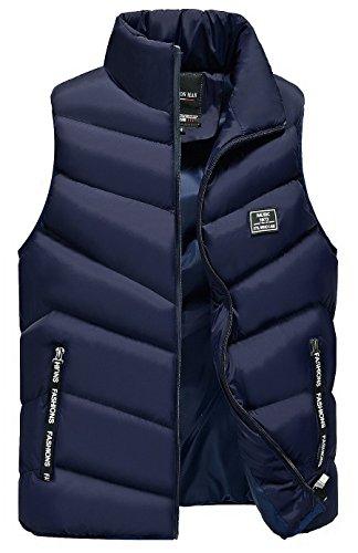 LittleKK ダウンベスト メンズ 中綿ベスト 軽量 防寒 立ち襟 無地 暖かい ジャケット ベスト M-4XL 5色展開 6708 (M, ブルー)