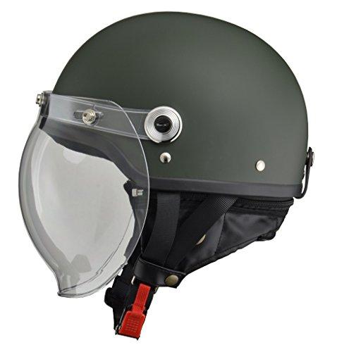 リード工業 バイクヘルメット ジェット CROSS バブルシールド付きハーフヘルメット マットグリーン フリーサイズ 57-60cm未満 CR-760