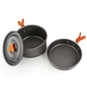 BGVANG キャンプクッカー クッカーセット キャンプ 鍋 アルミクッカー コッへル アウトドア 調理器具 登山 食器 BBQ 用品 2-3 人に適応 収納袋付き (オレンジ)