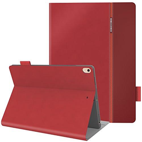 iPad Pro 10.5 ケース,AUAUA iPad Pro 10.5 カバー,Apple Pencil収納 高級品質、ポリウレタン製、10.5インチタブレットケースカバー、オートスリープ機能付き、防衝撃デザイン、超軽量&超薄型 スマートケース カバー、スタンド機能付き、保護フィルム付属 (iPad Pro 10.5, レッド)